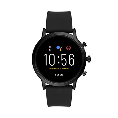 Fossil 44mm Gen 5 Carlyle Stainless and Silicone Touchscreen Smart Watch with Heart Rate, Color: Black (Model: FTW4025)