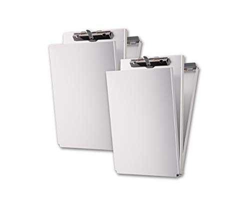 Summit Tools Dual Storage Aluminum Clipboard - Memo Size (9.5 x 5.75 Inches) Document Holder with Self Locking Latch, Form Clip, 2 Storage Compartment [2- Pack]