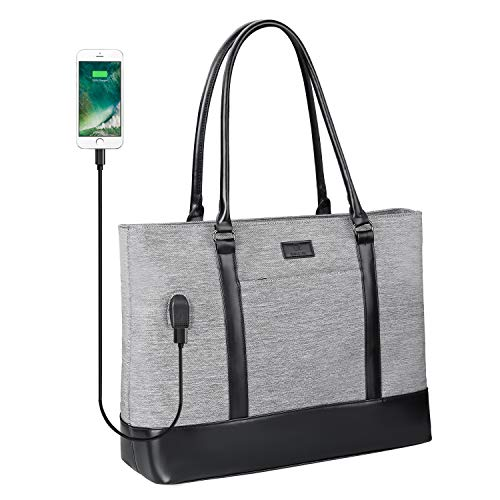 Laptop Tote Bag for Women, Teacher Tote Work Bag 15.6 Inch Laptop Bag with USB (Black Gray)