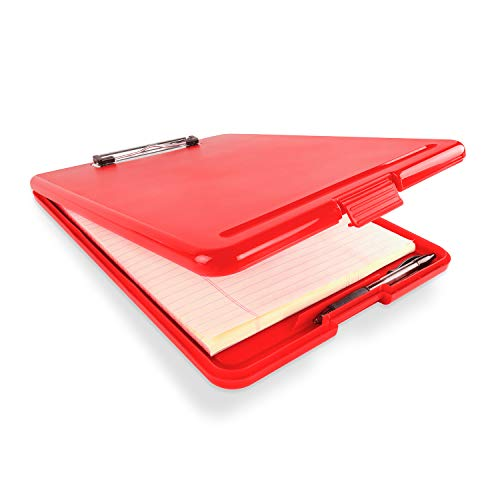 Slim Plastic Nursing RN Style Coaches Clipboard with Open Foldable Storage, Classroom Teacher College Size (9.5' x 13.5') (Red)