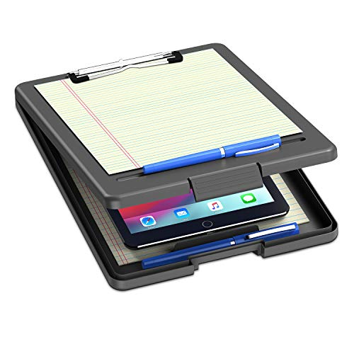 Clipboard with Storage, Plastic Storage Nursing Clipboard with Low Profile Clip, Heavy Duty Foldable Letter Size Recycled, for Kid, Salary, Coach, Jobsite, Industrial, Office(9'x13'x 0.8', Black)