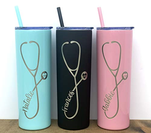 Nurse Personalized Laser Engraved- 20 or 22oz Tumbler with Straw, Stethoscope, RN, Nurse Gift, Doctor Gift, Nurse Assistant, Heartbeat, Nursing Student, Medical Assistant Tumbler, Nurse Graduate Gift