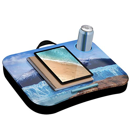 LapGear Cup Holder Lap Desk with Device Ledge - Patagonia - Fits up to 15.6 Inch Laptops - Style No. 46302