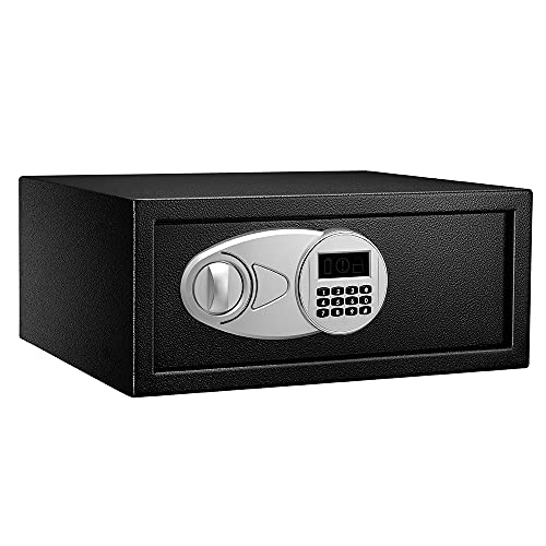 Amazon Basics Steel Security Safe with Programmable Electronic Keypad - Secure Cash, Jewelry, ID Documents - Black, 0.7 Cubic Feet, 16.93 x 14.57 x 7.09 Inches