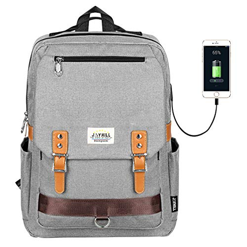 """College Vintage Backpack Fashion 15.6"""" Laptop Rucksack with USB Charging (Gray)"""