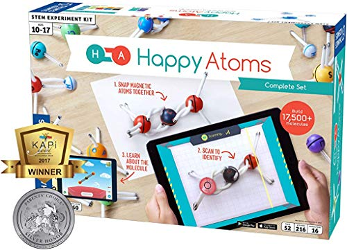 Happy Atoms Magnetic Molecular Modeling Complete Set | Intro To Atoms, Molecules, Bonding, Chemistry | Create Thousands of Molecules, 216 Activities, Plus Free Educational App For iOS, Android, Kindle