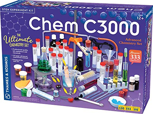 Thames & Kosmos Chem C3000 (V 2.0) Chemistry Set   Science Kit with 333 Experiments & 192 Page Lab Manual, Student Laboratory Quality Instruments & Chemicals, Multi, 21.3' Large x 7.2' W x 14.6' H (640132)