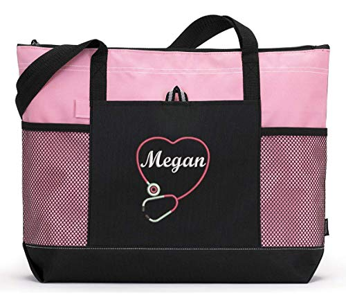Personalized Nurse, CNA, RN, LPN Embroidered Tote Bag with Mesh Pockets
