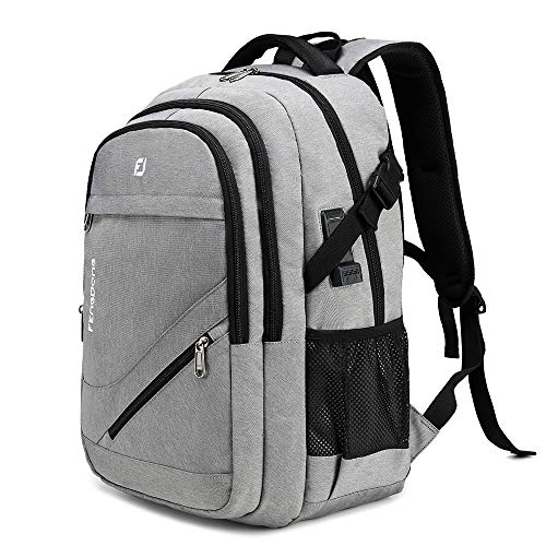 FENGDONG Waterproof Large Laptop Backpack 17.3 inch Durable Travel ,School College Backpack Bookbag Business Backpack with USB Charging, Headset Port and Luggage Sleeve for Men & Women Grey