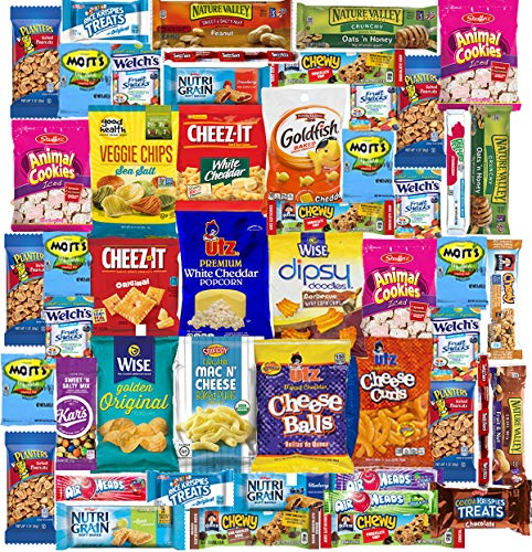 Snacks Variety Pack for Adults - 50 Count Ultimate Sampler Mixed Bars, Cookies, Chips, Candy Snacks Box for Office, Meetings, Schools & Family, Military, College Students Women Men Adult Kid Teens