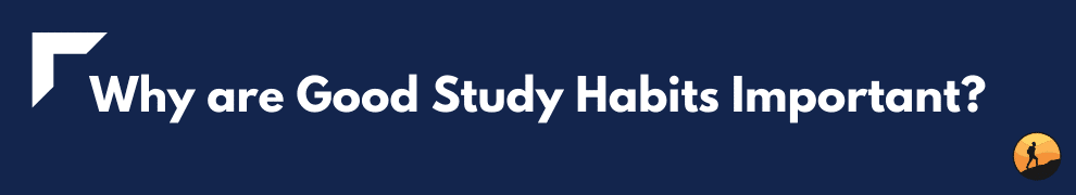 Why are Good Study Habits Important?